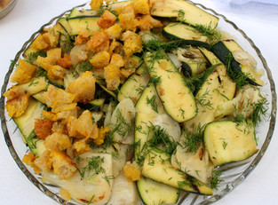 """Zucchini and Fennel with Saffron Crumbs from """"Plenty More"""" prepared by Linda"""