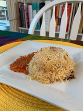 Instant Pot Moroccan Rice with Harissa, Dates, and Oranges prepared by Maria