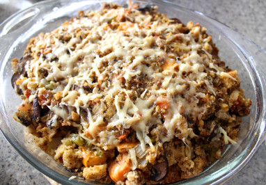 Gluten-Free Persimmon Stuffing with Baby Bella Mushrooms and Gruyère prepared by Jen