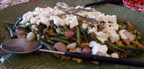 Roasted green beans & shallots  with couscous & marinated feta prepared by Christina