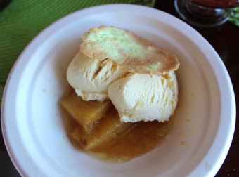Baked organic pineapple with rum & spices,  a lime tuille & coconut ice cream prepared by Shelley