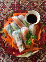 Rice Paper Vegetable Rolls from A Grandfather's Lessons prepared by Adele