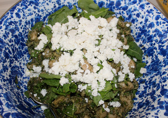 Giant Beans with Grape Leaf Pesto prepared by MaryLou