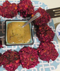 Red Rice and Beet Cakes with Honey Mustard prepared by Michele