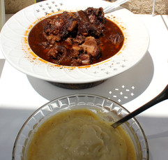 Rich Oxtail Stew with Potato Puree prepared by Michele