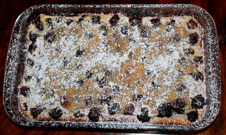 Blackberry Lavender White Chocolate Clafoutis prepared by Michele