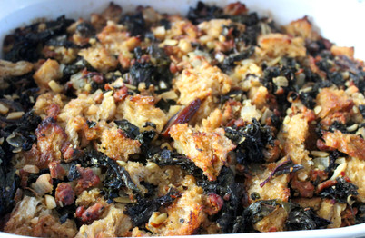 Sourdough Stuffing with Kale & Dates prepared by MaryLou