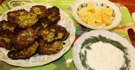 Zucchini + Nigella Fritters prepared by Becky
