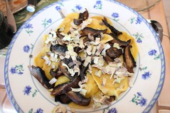 Parsnip ravioli, rosemary brown butter, roast portobello,  apple balsamic & crisped leeks prepared by Becky