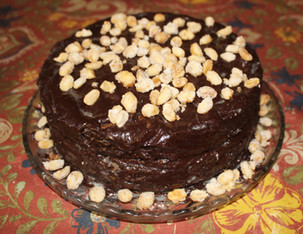 Banana Cake with Mocha Frosting and Salted Candied Peanuts from Ready for Dessert prepared by Linda