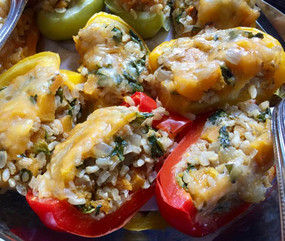 Butternut Squash & Brown Rice Stuffed Peppers prepared by Shelley