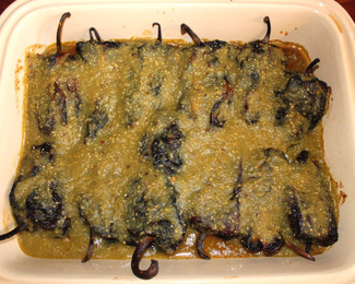 Chiles Pasilas Rellenos de Papa (Pasilla Chiles Stuffed with Potatoes) from My Mexico prepared by Michele