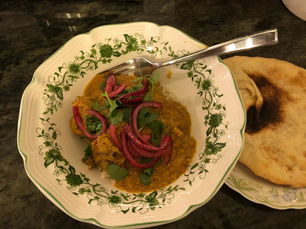 Tofu meatball korma with Olive oil flatbreads from Flavor prepared by Becky
