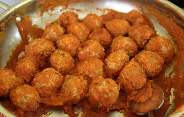 Albondigas en Salsa de Jitomate y Chipotle (Meatballs in Tomato & Chipotle Sauce) from The Cuisines of Mexico prepared by Gayla