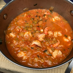 Shrimp Creole prepared by Patty