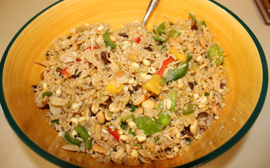 Sri Wasano's Infamous Indonesian Rice Salad from The Moosewood Cookbook prepared by MaryLou