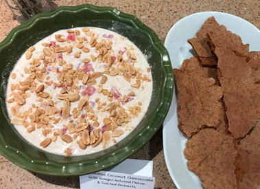 Spreadable Coconut Cheesecake with Ginger-Infused Melon & Salted Peanuts prepared by MaryLou