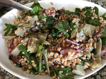 Artichoke and Farro Salad with Salami & Herbs prepared by MaryLou