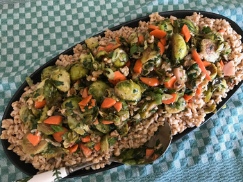 Brussels Sprouts with Pickled Carrots, Walnuts, Cilantro, and Citrus Vinaigrette prepared by Jackie