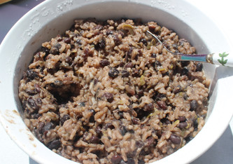 Moros y Cristianos (Cuban Black Beans with Rice) from The Cuban Table prepared by Jackie