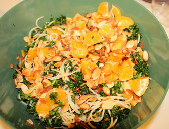 Kale-Angel Hair Tangle with Orange-Chili Oil & Toasted Almonds from The Heart of the Plate prepared by Susie