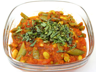 """Mixed Beans with Many Spices and Lovage from """"Plenty"""" prepared by Gabby"""