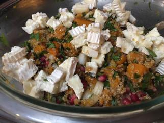 Quinoa Salad with Pomegranate, Pumpkin & Goat Cheese prepared by Jen
