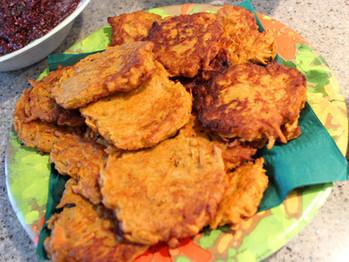 Curried Sweet Potato Latkes prepared by Becky