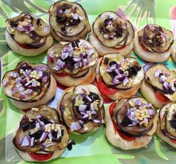 Eggplant, Olive, Onion & Tomato Mini Pies prepared by Becky