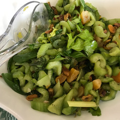 Cucumbers, Celery, Apricots, and Pistachios prepared by Susie