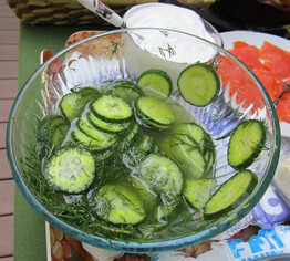 Finnish Cucumber Salad prepared by Lisa