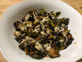 Brussels sprouts with browned butter & black garlic from Simple prepared by MaryLou