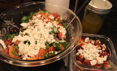 Roasted Beets & Carrots with Couscous, Sunflower Seeds, Citrus & Feta from Six Seasons prepared by Christina