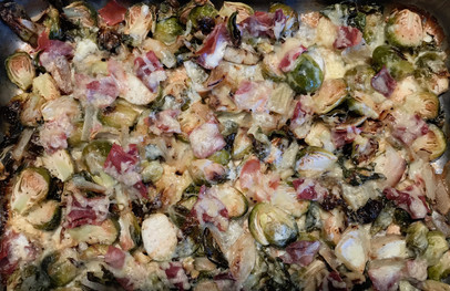 Gratin of Brussels Sprouts, Gruyere and Prosciutto  prepared by Becky