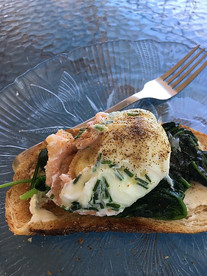 Herby smoked salmon poached eggs from Super Food Family Classics prepared by Sue