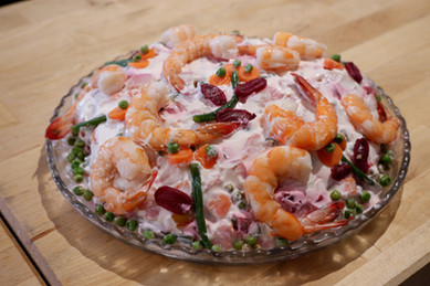 Insalata Russa (Shrimp Salad with Assorted Vegetables) prepared by Linda