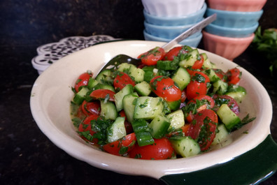 Tomato Cucumber Salad prepared by Gayla