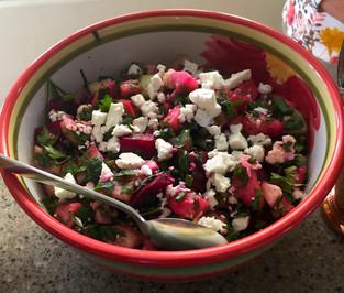 """Raw"" Beet & Cucumber Salad prepared by Sari"