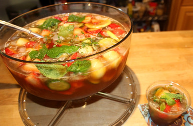 Strawberry Melon Elderflower Pimms Punch prepared by MaryLou