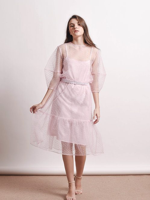 Aert polka-dot sheer dress