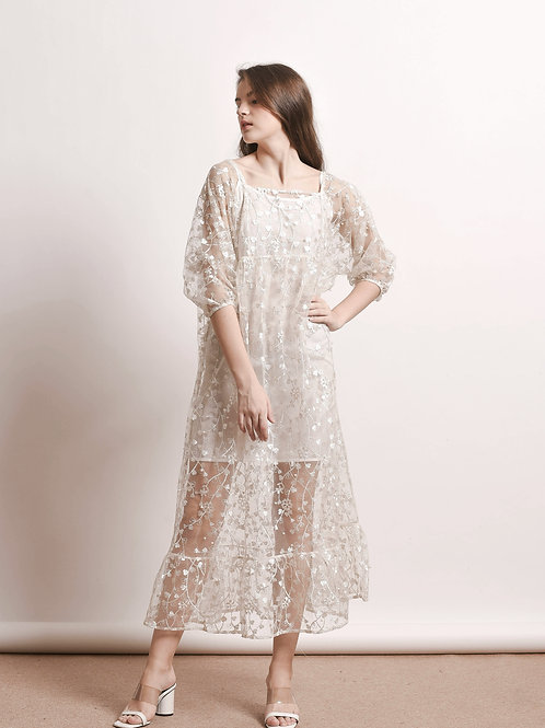 Clio floral-embroidered dress