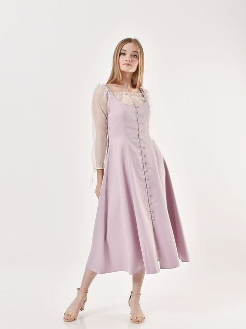Quince front-button pinafore dress