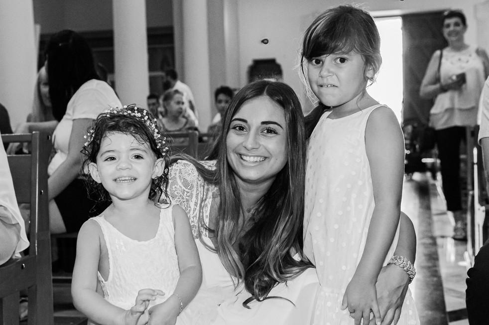 famille baptême noir et blanc