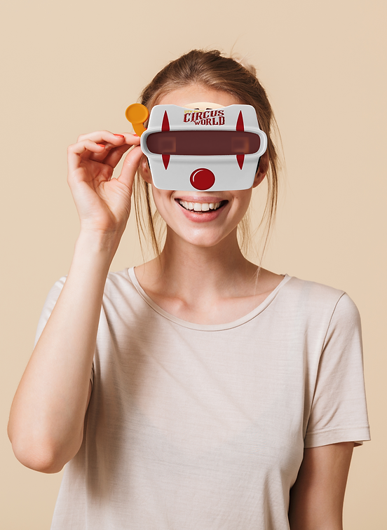 woman using view master