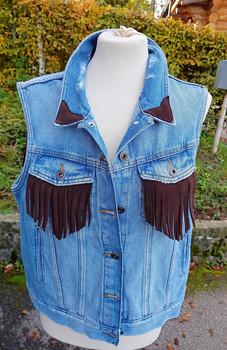 Gilet Jeans, franges cuir