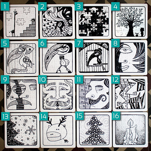 HAND-DRAWN PUZZLE (16 VARIETIES)