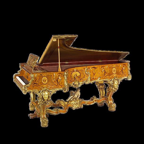 Самый красивый рояль Манифик инкрустированный золочёный с резьбой и скульптурами (фото)
