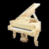Кабинетный бежевый рояль Blüthner модель рококо Людовик XV с золотом (фото)