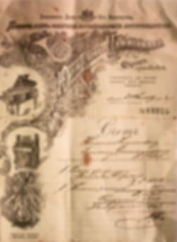 Старинный счёт на продажу (покупку) рояля (фото)