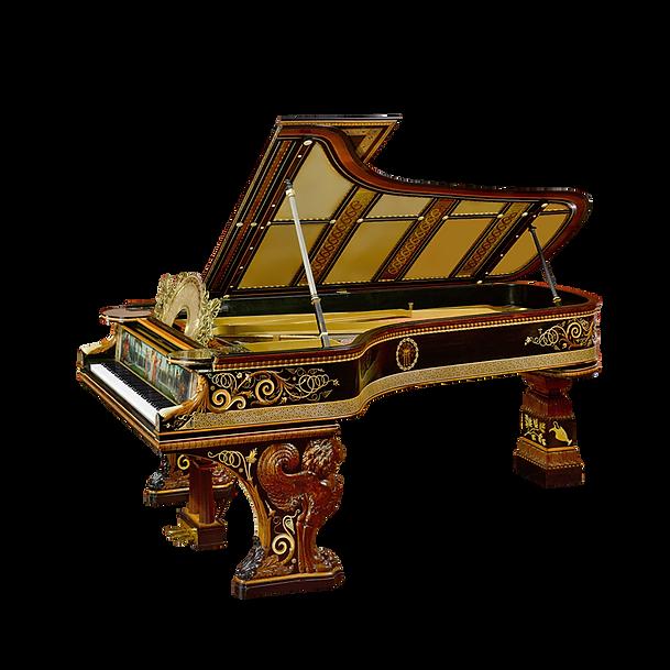 Самый красивый рояль Клеопатра инкрустированный разноцветными барельефами (фото)